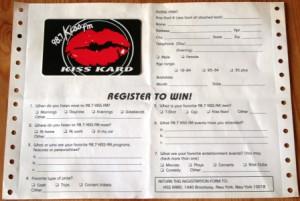 98.7 Kiss FM Card für Gewinnspiele von 1994 (Foto: rap2soul)