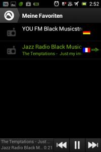 Screenshot: Radio-App im Test: Audials - Radio + Musik Sync - Favoriten