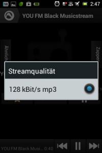 Screenshot: Radio-App im Test: Audials - Radio + Musik Sync - Streamqualität (Beispiel)