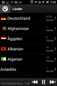 Screenshot: Audials - Radio + Musik Sync - Länderauswahl