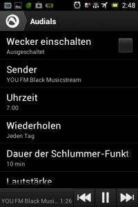 Screenshot: Audials - Radio + Musik Sync - Wecker