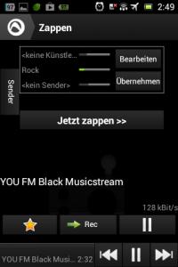 Screenshot: Audials - Radio + Musik Sync - Zapping