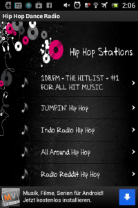 Screenshot: Hip Hop Dance Radio