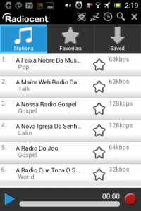 Screenshot: Radiocent - Hauptbildschirm
