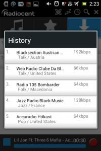 Screenshot: Radiocent - History