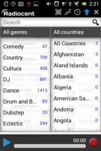 Screenshot: Radiocent - Länderübersicht