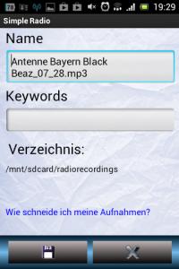 Screenshot: Simple Radio - Sender aufzeichnen