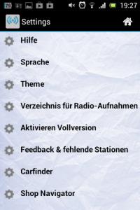 Screenshot: Simple Radio - Optionen