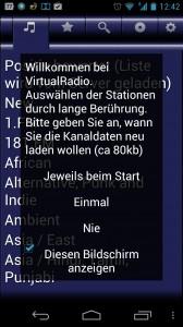 Screenshot: VirtualRadio - Startseite