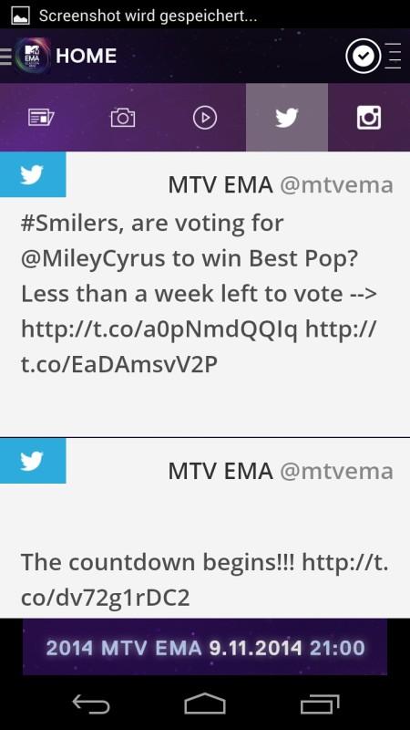 Screenshot: MTV EMA App | Bild: Redaktion
